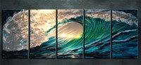 More Panel Digital printing Abstract Framed -516 5 Panel 100% hand-painted Modern Abstract Huge Sea wave PURE HAND PAINTED ON HIGH QUALITY CANVAS art Oil Painting Multi sizes