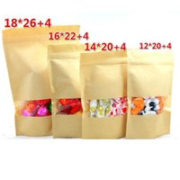 Wholesale Stand up Zipper lock Kraft paper packaging bag with Matte translucent window PE inside kraft paper pouch
