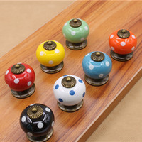 Wholesale 7 color Vintage Polka Dot Round Ceramic Drawer Knob Cabinet Cupboard Door Pull Handle x3 x3 cm