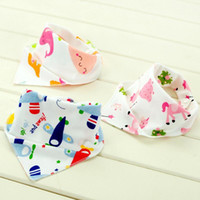 Wholesale Baby Cartoon Animal Print Bibs Triangle Double Layered Cotton Baberos Infant Baby Kids Burp Cloths MC0443