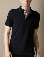 Wholesale Fashion Mens Casual Polo T Shirt Brit Style Cotton Tee Shirts Short Sleeve Summer Leisure Sports Shirts Spring Autumn Solid T shirt S XXL