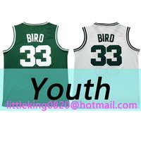 Wholesale New Youth kid Larry Bird Jersey Green white High quality Running jersey Embroidery Stitched
