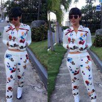 Wholesale Special design popular full sleeve print rompers piece elegant suit women sweat suit