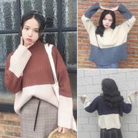 Wholesale Winter women s Preppy Style wind thin loose color semi Turtleneck Shirt