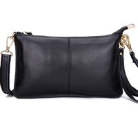 adjustable leather handbag strap - Soft Leather Mini Crossbody Messenger Bags Classic Zippered Evening Clutch Handbags with an Adjustable Shoulder Strap