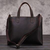 achat en gros de cuir véritable sac fourre-tout des hommes-Handmade cuir véritable hommes sac messager rétro sac fourre-tout en cuir de cheval fou support sac à main de haute qualité d'affaires pour la livraison