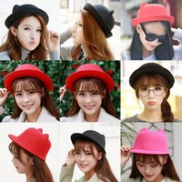 Wholesale Newest Women Top Hats cat s ear Autumn Winter Bucket Hat Outdoor Christmas Banquet Caps Girl Lady Warm Casual Hat