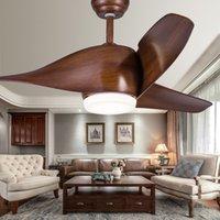 Wholesale Nordic Brown Vintage DC Ceiling Fan With Lights Remote Control Ventilador De Techo Volt Fan LED Light Bulbs Bedroom Fan Lamp