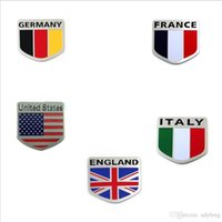 Wholesale pieces Car Styling Aluminum ITALY ENGLAND USA AMERICAN GERMANY Flag Emblem Chrome Car Decal Sticker