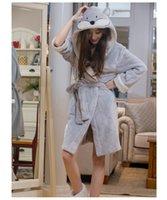 Wholesale Adult Knee Length Winter Worm Flannel Turn down Collar BathRobes Womens Animal Fox Robes Sleepwear Nightgown Bathrobe