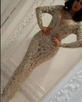 al por mayor vestidos de zoe-Vestido de noche yousef aljasmi de manga larga de encaje de sirena de dama Appliques cristales Kim kardashian Charbel zoe Celebrity Prom Gowns