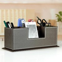 Wholesale PU Leather Home Storage Box Container Stationery Tools Canister Name Cards Organizer Case Original Office Tool Collection Holder