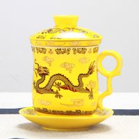 Wholesale Gold Dragon Jingdezhen ceramic cups Guci personal cup office cups four piece water cup filter cover gift cups