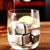 al por mayor de hielo de plástico reutilizable-Juego de 4 piedras de Whisky de acero inoxidable Cube Glacier con plástico de almacenamiento Box Tongs Bebida Refrigeración Whisky Reutilizables Ice Cubes