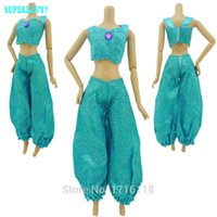 aladdin doll - Fairy Tale Princess Dress Copy Aladdin Jasmine Cartoon Exotic Costume Tops Trousers Outfit For Barbie Doll Clothes Kid Toys Gift