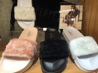 Wholesale Come With Dust Bag Rihanna Slippers Leadcat Fenty Fur Slides Women Sandals Pink Black White Grey