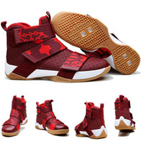 basketball custom shoes - with shoes Box LeBron Zoom Soldier X Men Basketball Shoes CAVS Gold Red Home CUSTOM Authentic Kids shoes