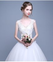 Wholesale New V neck Elegant Appliqued Lace up Backless Embroidered Cathedral Train Mermaid Flower Bow Ribbon Hollow Wedding Dresses Freeshipping
