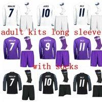 Wholesale DHL long Sleeve soccer kit Benzema Real Madrid shirt RONALDO BENZEMA JAMES BALE MORATA child kit coat trousers so