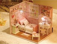 Wholesale DIY small room Hand assembled a small room Pink cute room Mini model toy Do it yourself