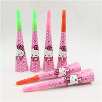 Wholesale Birthday Party Decor Horn Whistles Horn Blowouts Trumpets Cartoon Party Supplies For Girls Children Hello Kitty Style