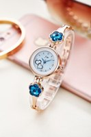 Wholesale Sapphire Blue Ivory - bracelet watch sapphire dress watch jw brand fashion woman watch five-petaled flowers gold and silver gift watch