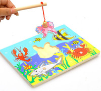 Cheap Wholesale-Children Fishing Game & Wooden Ocean Jigsaw Puzzle Board Magnetic Rod Toy Outdoor Fun Toy Gift For Kid