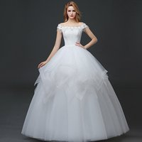 Wholesale Bride Wedding Dress Summer NEew Simple Slim Wedding Dress White Korean Shoulders Wedding S M L XL XXL