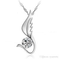 Wholesale Vintage Wing Necklace Top Quality with Shiny Zircon Stone Silver Plated Pendant Necklace for Women Jewelry