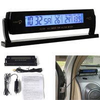 automotive exterior - Car Thermometer Voltmeter Automotive Interior and Exterior Temperature Voltage Meter Clock Blue Backlight Alarm Clock hot new