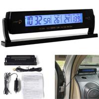 automotive voltmeter - Car Thermometer Voltmeter Automotive Interior and Exterior Temperature Voltage Meter Clock Blue Backlight Alarm Clock hot new