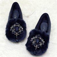 Wholesale New Arriving Women Winter Warm Shoes Slip On Velvet Flats Rhinestone Suede Genuine Leather Short Plush Fur Plus Size