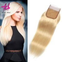 Cheap #613 brazilian Straight hair Closure 4x4 real hair Closure extension Three Middle Free Part Hair Extensions 613 with color 27