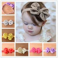 Wholesale Baby Elastic Headbands soft Headband with Satins Baby Ribbon Bows Hair Accessories baby bow headband chiffon satin Bow to match hair band