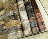 Wholesale D Wall Paper Brick Thicken PVC Stone Wallpapers PVC Vinyl Wallpaper Roll for Walls Papel Pintado Vintage papel de parede tijolo