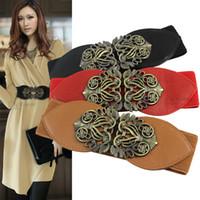 Mujeres Elegantes Señora Bronce Hebilla Amplio Estiramiento Cinturón Elástico Cinturones Cintura Moda Decorativa Correa De Señoras Correa