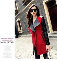 Wholesale 2017 Women Winter Pu Leather Jackets Coats Slim Fit Black color Long Jacket Outwear
