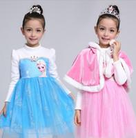 Acheter Nouvelles robes de filles de noël-Frozen Big Girls Robes Enfant Automne Hiver Manches Longues Robe Princesse Vêtements de Noël Rose Bleu Filles Nouvel An Girl Dresses Enfants
