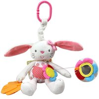 Venta al por mayor-0 + bebé juguete suave conejo divertido felpa muñeca bebé traqueteo anillo campana cuna cama colgando animal juguete dientes multifunción muñeca niños juguete