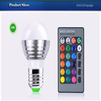 220V Smart RGB 85-265V 220V 3W E27 RGB LED Stage light lamp Bulb Atmosphere Night light +IR Remote Controller For Party Disco DJ Bar Bulb
