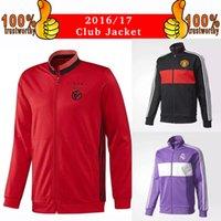 Wholesale 2017 Real Madrid Jacket Purple Long Sleeve Jacket ManUnited Red Training uniform Benfica Red Training Jackets