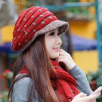 best high hats - HOT SALE new High Quality wool Winter female knitted hat scarf twinset Best Lovely hat and scarf set for women