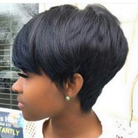 Pelucas brasileñas cortas del pelo para las mujeres negras Seda natural que mira las pelucas rectas del pelo humano Bob Estilo Glueless ninguna peluca del cordón