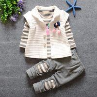 al por mayor hermosa p-El bebé hermoso del bebé de la nueva manera 2016 de la venta al por mayor rayó la camisa + los pantalones 3 P C S /