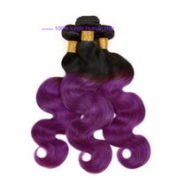 al por mayor ombre púrpura armadura del pelo peruano-Ombre Weave Paquete de pelo Dos tonos color ombre púrpura onda del cuerpo sin procesar onda del cuerpo brasileño peruano indio Ombre Extensiones de cabello humano