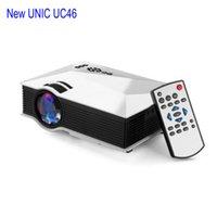 Vente en gros-plus récent Original UNIC UC46 WIFI portable LED Vidéo Projecteur de cinéma maison PC VGA / USB / AV / HDMI sans fil Mini Projecteur de poche Blanc
