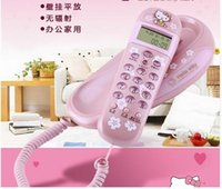 Wholesale Brand hello Kitty wall mounted corded phone small extension telephone caller id