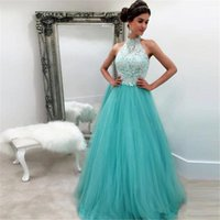 Cheap Aqua Halter Prom Dresses A-line Tulle Appliqued Lace Long 2017 Custom Made Special Occasion Party Gowns For Girls Vestidos Longo De Festa