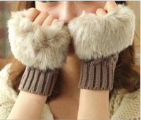 Wholesale Autumn and winter knitting warm Christmas half refers to female gloves Wool imitation fur fingerless brief paragraph touch gloves