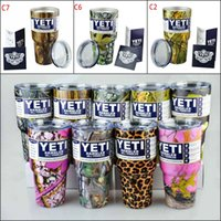 Wholesale NEW CAMO YETI Cups oz With lids colors Camouflage Yeti Rambler Tumbler Vacuum Insulated Vehicle Mug Camouflage Colored Yeti Coolers